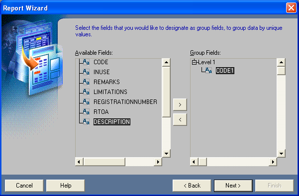 Select the fields that you would like to designate as group fields, to group data by unique values.