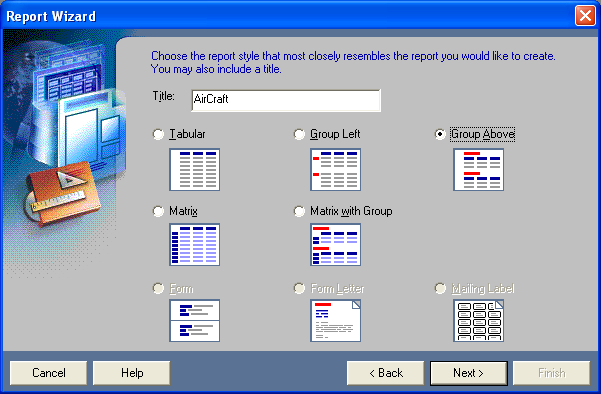 Choose the report style that most closely resembles the report you would like to create.