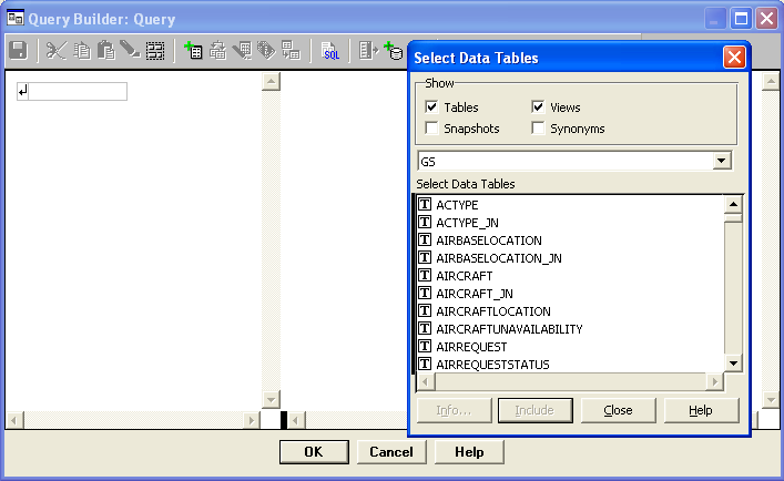 Query Builder: Query / Select Data Tables
