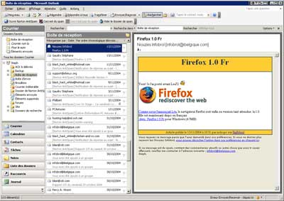 Interface d'Outlook 2003