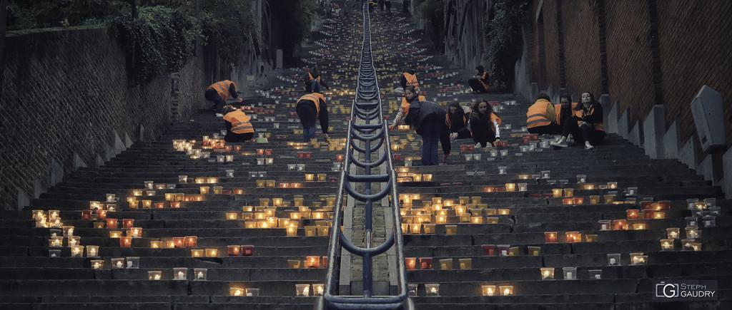 Liège, nocturne des coteaux 2017 - disposition des bougies