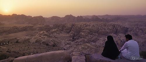 Coucher de soleil dans les montagnes en Jordanie