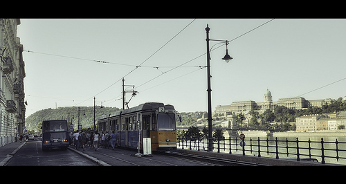 Bus and tramway in front of Buda Castle