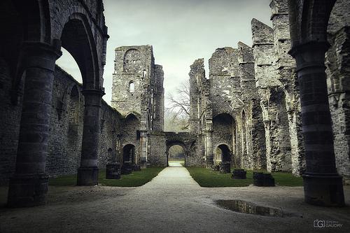 Abbaye de Villers: porche d'entrée vu depuis le transept