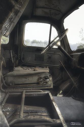 Abandoned firetruck cabin