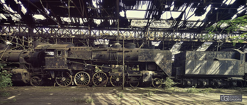 Abandoned steam train
