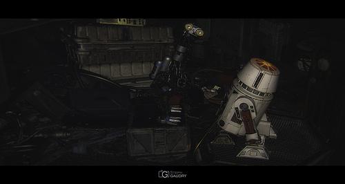Droïde réparateur G2 et droïde astronavigateur R5