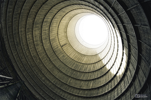 Cooling tower - Vertigo of the low-angle shot