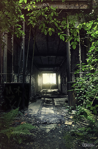 Couloir vers les douches du charbonnage