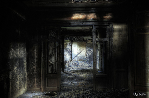 Burned-out dining room