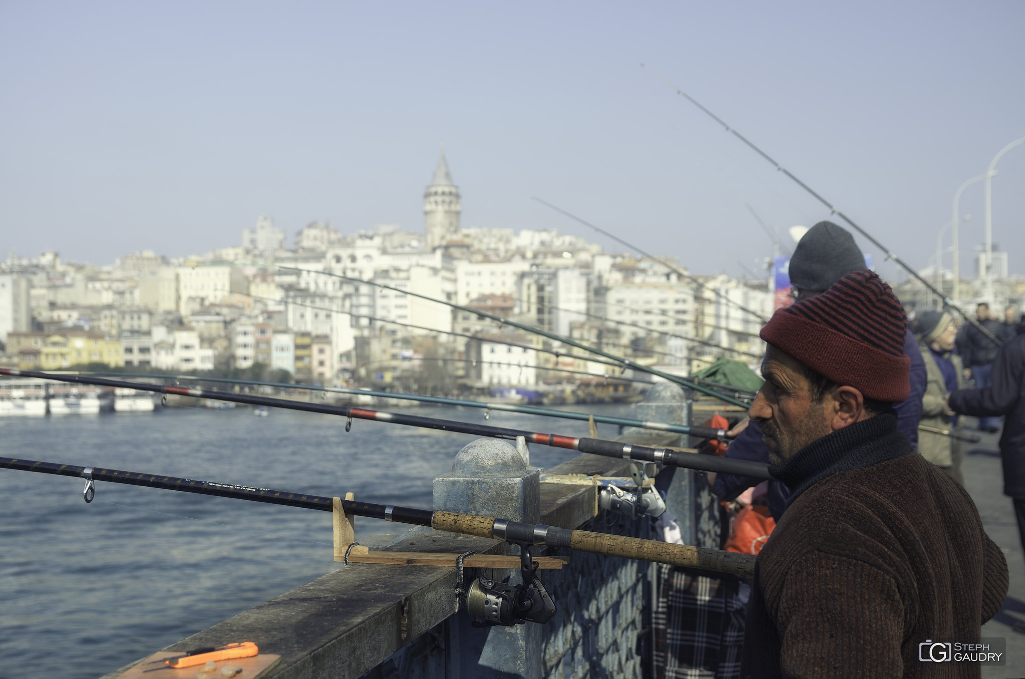 Istanbul, Fishermen on Galata Bridge - 2 [Click to start slideshow]