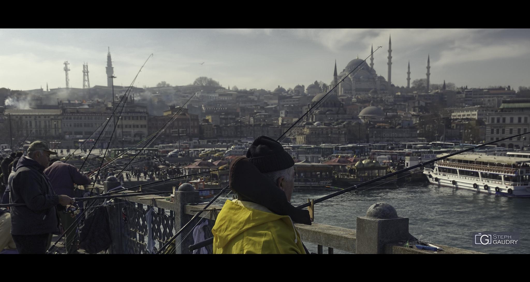 Istanbul, Fishermen on Galata Bridge (cinemascope version) [Cliquez pour lancer le diaporama]