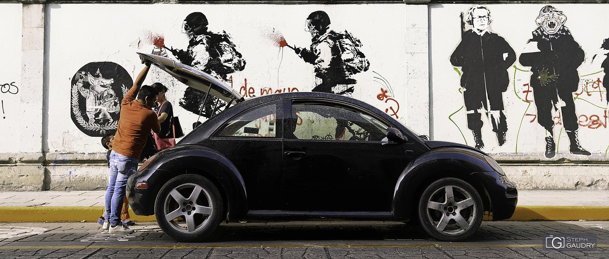 Oaxaca  - beetle sur un fond de contestation [Cliquez pour lancer le diaporama]