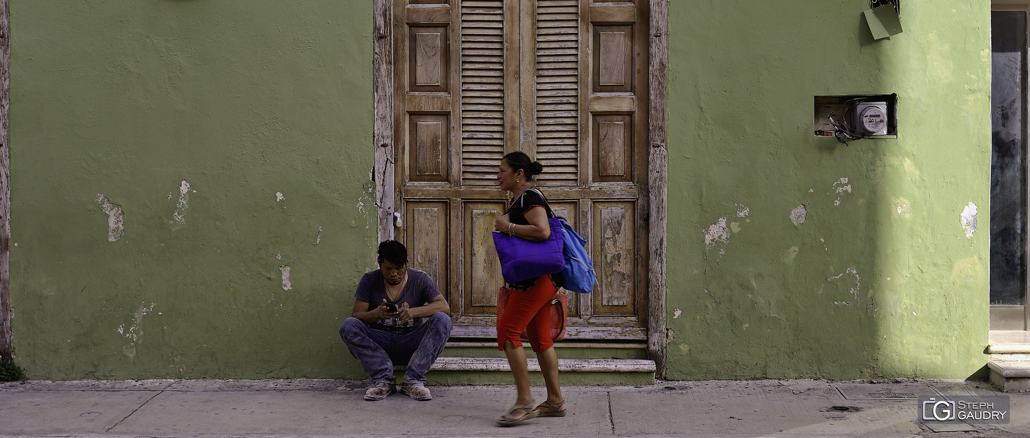 Scène de rue à Campeche [Klik om de diavoorstelling te starten]