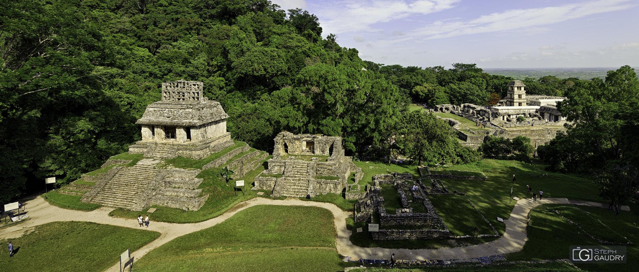 Palenque - Le Temple du Soleil, et au loin la tour d'observatoire [Click to start slideshow]