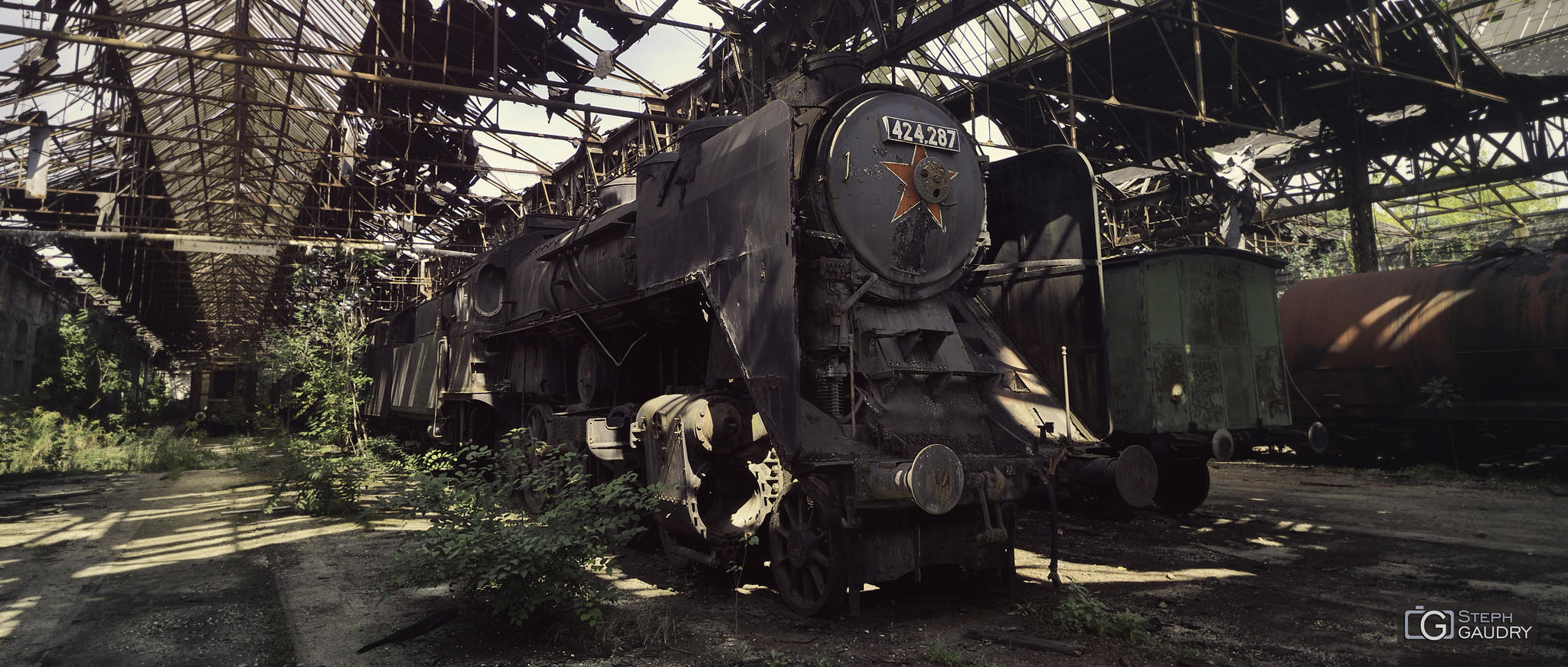 MÁV 424-287 (Abandoned Red star train) [Click to start slideshow]