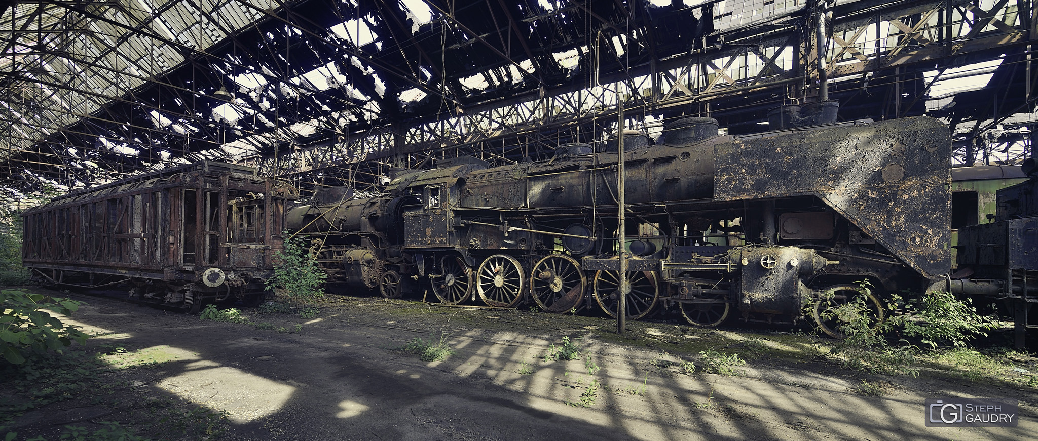 Abandoned steam train