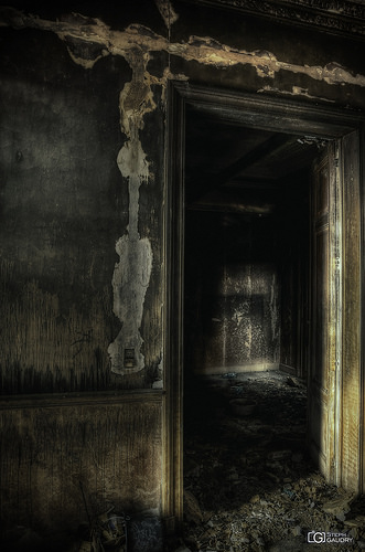 Burned-out living room