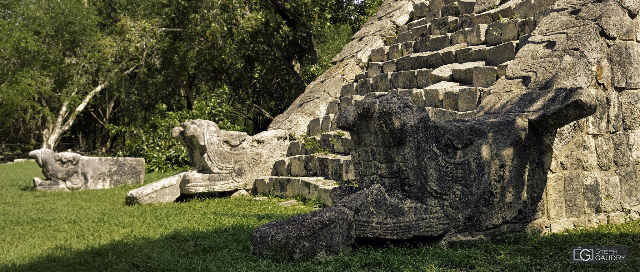 Chichen Itza - décorations en bas des escaliers [Cliquez pour lancer le diaporama]