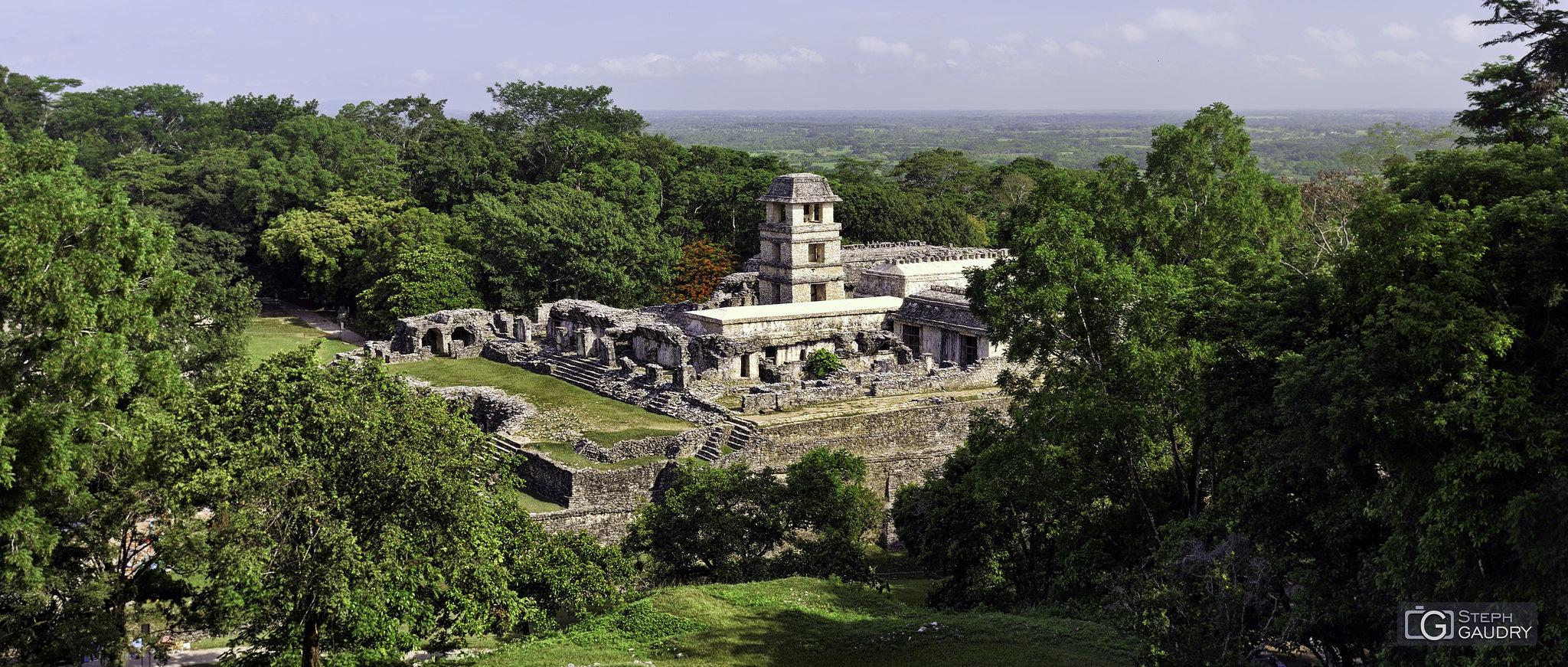 Palenque - Le palais et la tour d'observatoire [Klik om de diavoorstelling te starten]