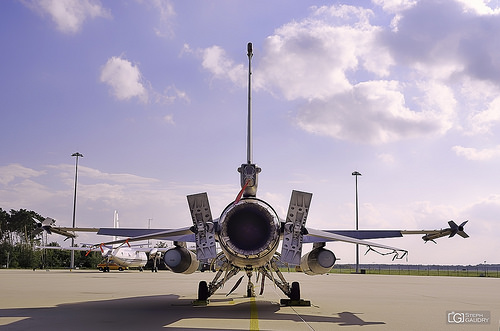 Lockheed Martin F-16AM/BM Fighting Falcon - tubofan view - sunset