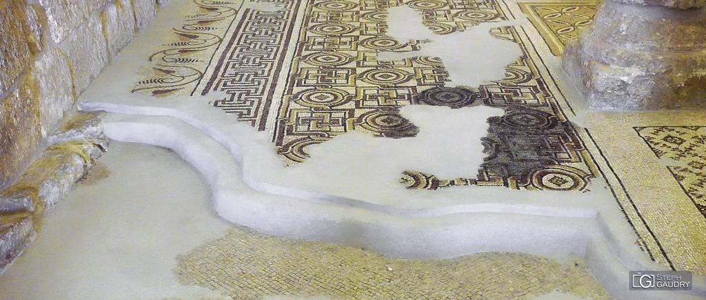 Couches de mosaïques de la basilique du mémorial de Moïse au Mont Nébo