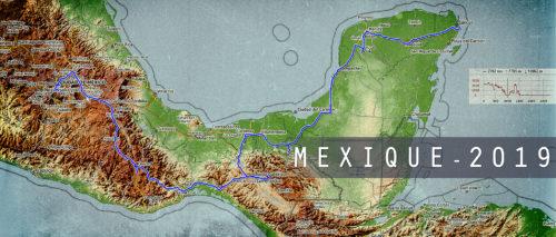 Carte du road trip au Mexique en 2019