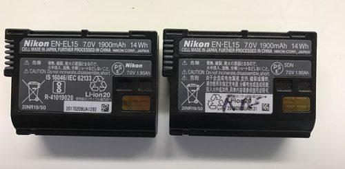 Différents modèles de EN-EL15 2.0 (2017 à gauche, 2016 à droite)