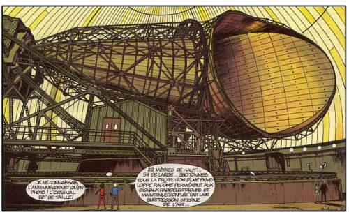 """L'antenne cornet de Pleumeur-Bodou, dessinée par R. Leloup dans l'album de la série Yoko Tsuno """"Un message pour l'éternité"""""""