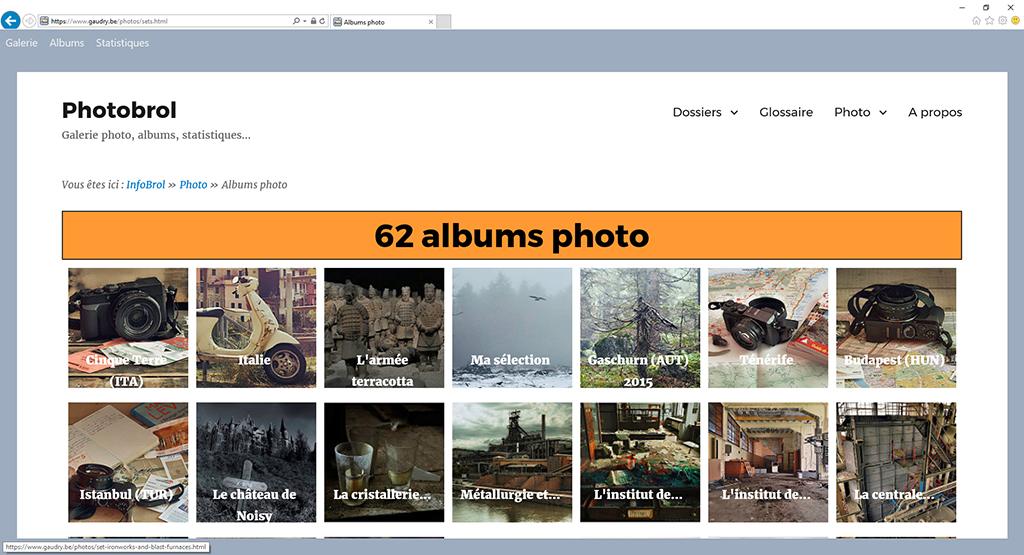 Un clic sur un album permet de parcourir les photos